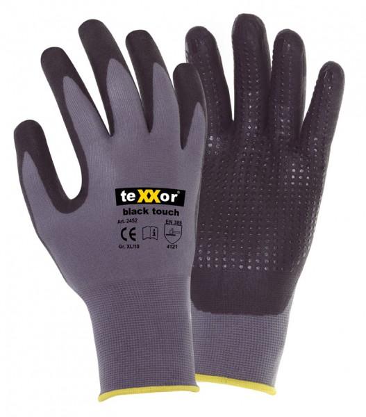 teXXor® Montagehandschuhe BLACK TOUCH® Nitril beschichtet mit Noppen