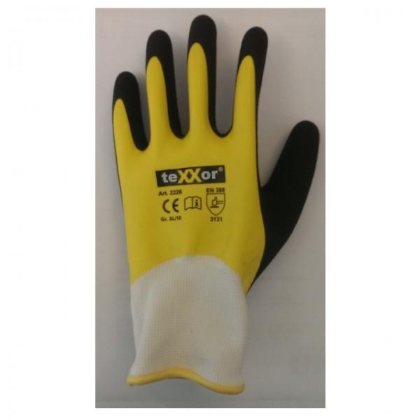 teXXor® Polyester-Strickhandschuhe Latex topline, weiss/gelb/schwarz