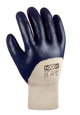 teXXor® Nitril-Handschuhe mit Strickbund 3/4 beschichtet blau
