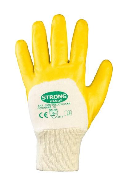 Nitril-Handschuhe SWS mit Strickbund teilbeschichtet gelb