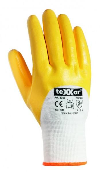 teXXor® Nitril-Handschuh mit Strickbund 3/4 beschichtet gelb
