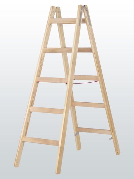 Holz-Sprossenstehleiter, beidseitig begehbar