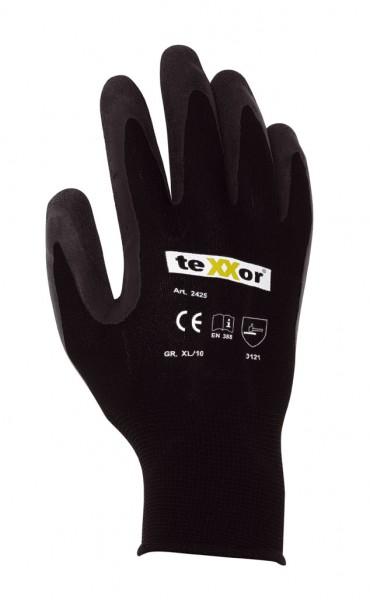 teXXor® Polyester-Strickhandschuhe Latex beschichtet schwarz