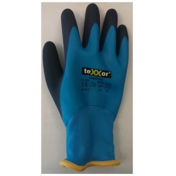 teXXor® Nylon-Winterhandschuhe Latex topline, blau/dunkelblau